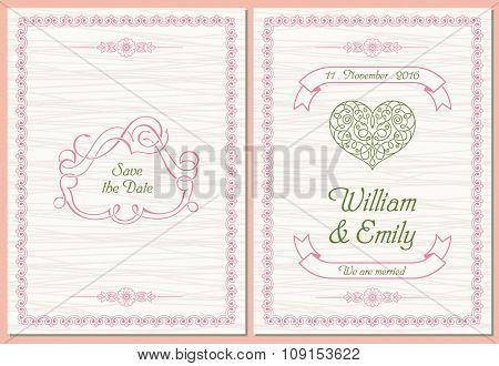 Save The Date postcard, Wedding Invitation Card. Vector illustration