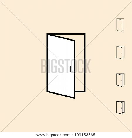 Door icon. Vector icon in four different thickness. Linear style