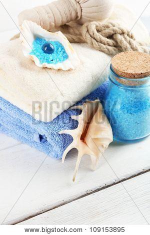 Spa treatments on light background. Sea spa concept