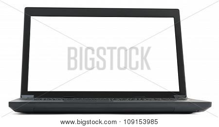 Black laptop with blank screen