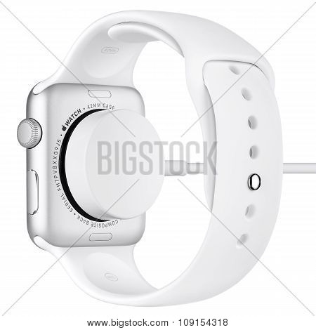 Charging Of Apple Watch Sport 42Mm Silver Aluminum Case With White Sport Band