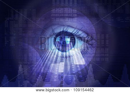 Abstract background with human eye and matrix