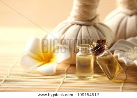 Natural relaxing spa set on wicker background