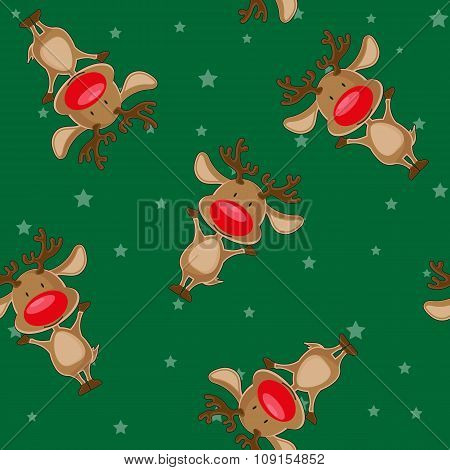 Vector Seamless Christmas Background: Santa's Deer On Backgroung With Stars