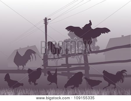 illustration with poultry near fence