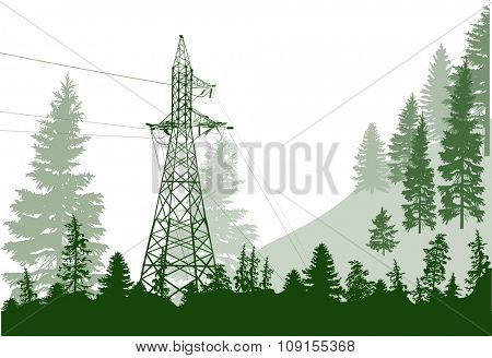 illustration with electric power pylon in forest
