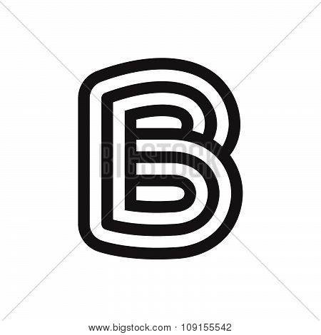 B Letter Formed By Parallel Lines.