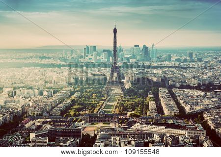 Paris, France vintage skyline, panorama. View on Eiffel Tower, Champ de Mars and La Defense