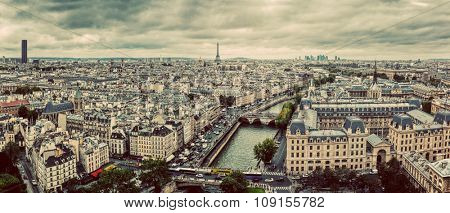 Paris, France panorama with Eiffel Tower, Seine river and bridges. As seen from Notre Dame. Vintage