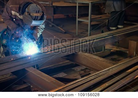 Welder Assembles Of Metal Semi-automatic Welding