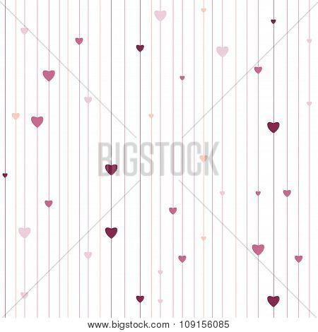 Vector stripped geometric seamless pattern with hearts