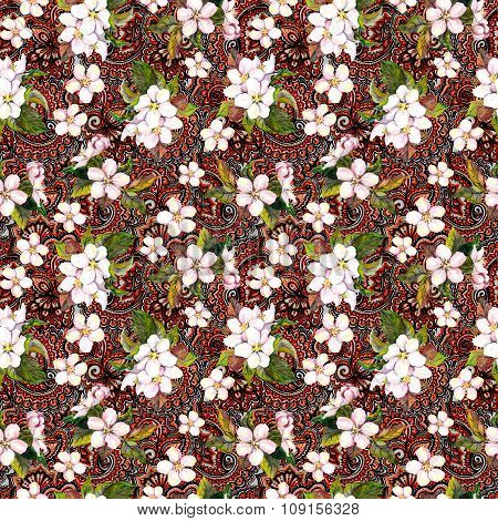 Spring flowers sakura, sherry, apple on eastern lace background. Floral repeating pattern. Watercolo