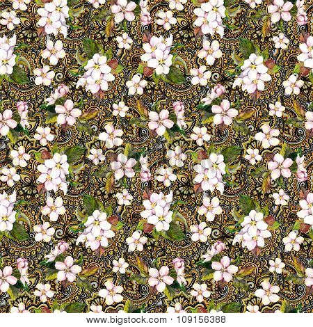 Blossom - pink flowers on golden indian ornamental background. Floral repeating pattern. Watercolour