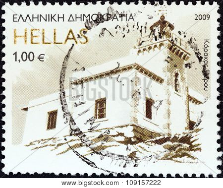 GREECE - CIRCA 2009: Stamp shows Korakas lighthouse, Paros