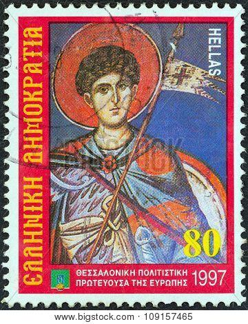 GREECE - CIRCA 1997: Stamp shows patron Saint Dimitrios (fresco, Agios Nikolaos Orphanos Church)