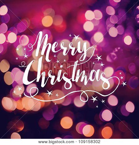 Merry Christmas Greeting Card Bokeh Star Handdrawn