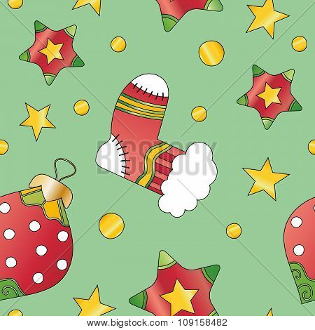Christmas texture with bauble star and stocking