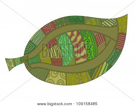 Leaf with different red and green pattern
