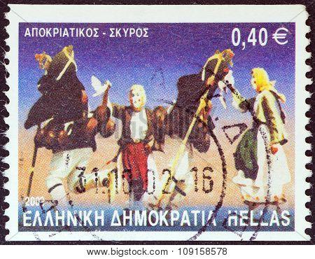 GREECE - CIRCA 2002: A stamp printed in Greece shows Apokriatikos dance, Skyros island
