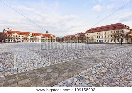 Domplatz square at Magdeburg with Parliament of Saxony-Anhalt and Ministry of Justice buildings