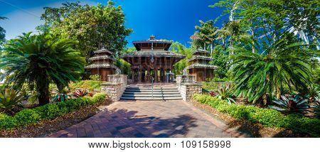 A wooden Nepalese pagoda in South Bank Parklands, Brisbane, Australia