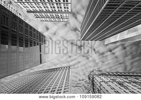 Black And White Picture Of New York Skyscrapers, Usa