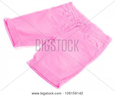 Pink jeans shorts isolated on white background