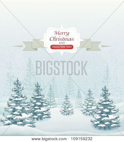 Merry Christmas and Happy New Year forest winter landscape with snowfall and spruces vector illustra