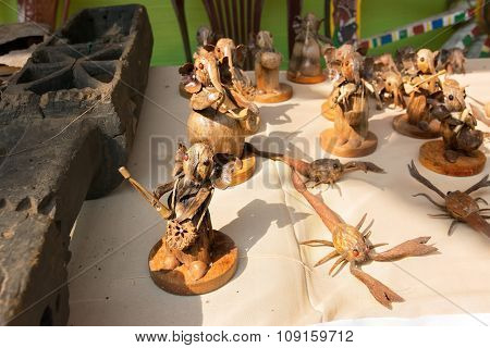 Handicrafts Made Of Wood Are Being Sold At Pingla Village, India