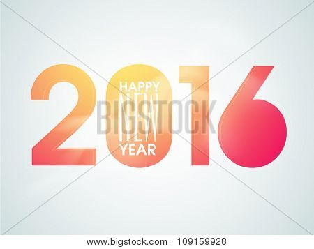 Colorful text 2016 on glossy sky blue background for Happy New Year celebration.