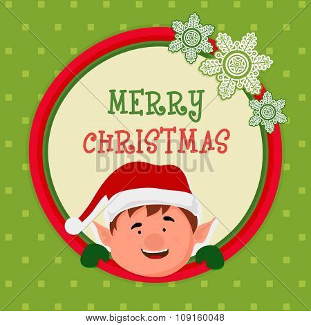 Greeting card design with cute boy and creative snowflakes for Merry Christmas celebration.