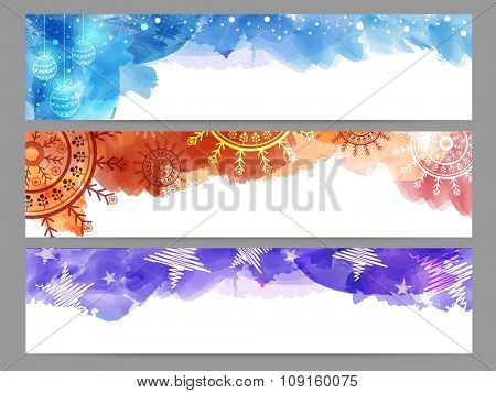 Creative website header or banner set with Xmas Balls, snowflakes and stars for Merry Christmas celebration.