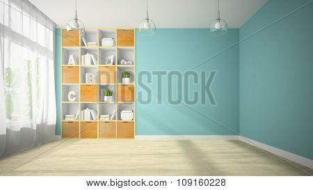 Empty room with niche shelf 3D rendering