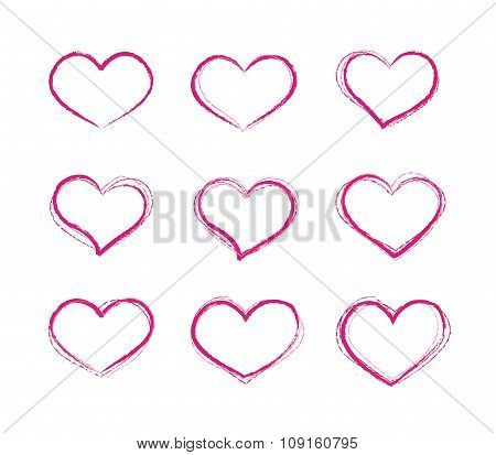 Retro scribble grunge vector heart symbols set