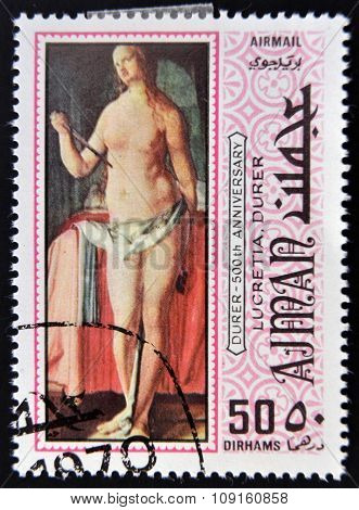 AJMAN - CIRCA 1970: a stamp printed in Ajman shows Lucretia Painting by Albrecht Durer circa 1970