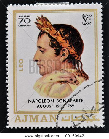 AJMAN - CIRCA 1970: A stamp printed in Ajman shows Napoleon Bonaparte circa 1970