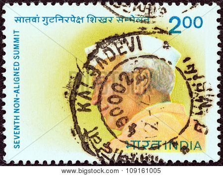 INDIA - CIRCA 1983: A stamp printed in India issued for the 7th Non aligned Summit Conference, New Delhi shows the first Prime minister of India Jawaharlal Nehru, circa 1983.
