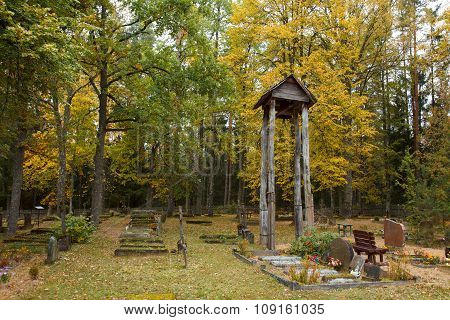 Autumn in graveyard