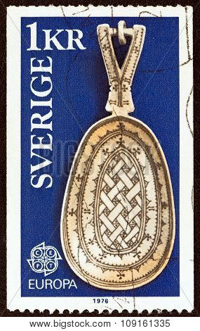 SWEDEN - CIRCA 1976: A stamp printed in Sweden shows a Lapp Spoon