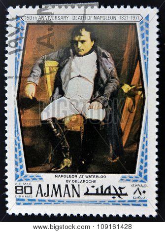 AJMAN - CIRCA 1971: A stamp printed in ajman shows Napoleon at waterloo by Delaroche circa 1971