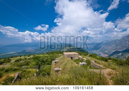 Fort Gorazda ruins and wide angle landscape view to Bay of Kotor