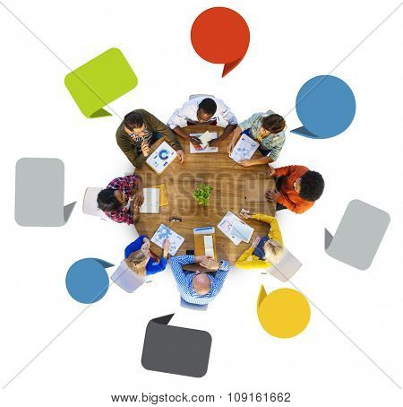 Brainstorming Discussing Planning Teamwork Variation Diverse Ethnic Concept