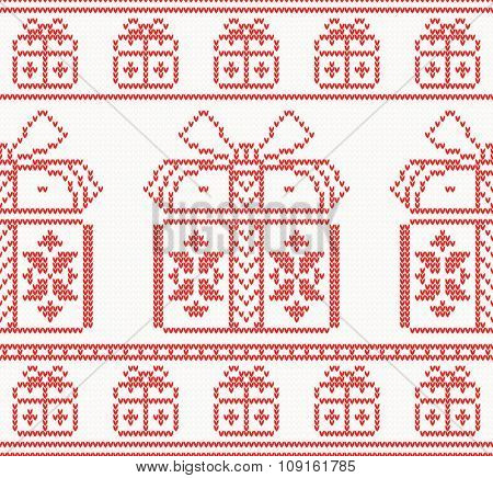 Knitted pattern with gift boxes. Vector illustration. Seamless pattern in red color. Christmas holiday concept for paper, fabric or web site. New year invitation card
