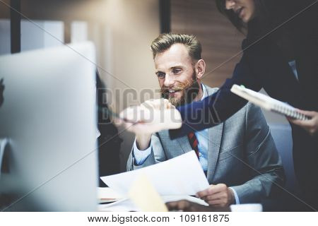 Business People Meeting Explaining Information Concept