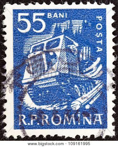 ROMANIA - CIRCA 1960: A stamp printed in Romania shows timber tractor