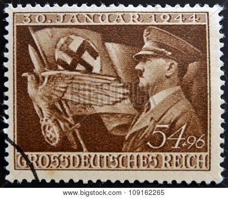 GERMANY - CIRCA 1944: A postage stamp printed in the Germany shows Adolf Hitler