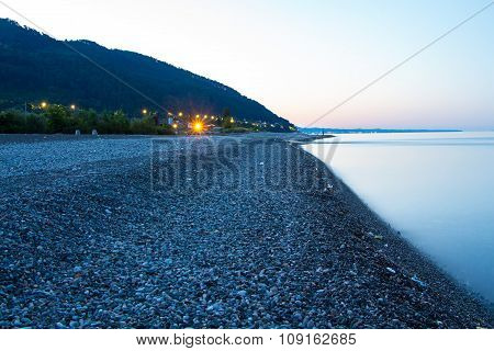 Coast with mountains in night