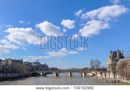 The river Seine and the Pont Royal in Paris, France