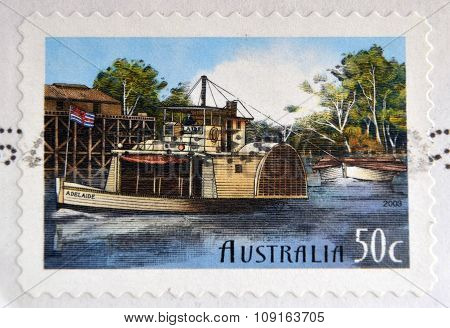 AUSTRALIA - CIRCA 2003: stamp printed in Australia shows Murray River boat