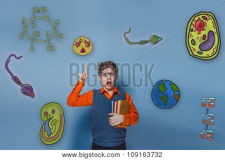 retro style teen boy with glasses and orange shirt surprised poi